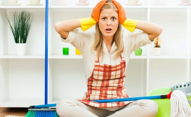 Woman frustrated and upset at DIY cleaning